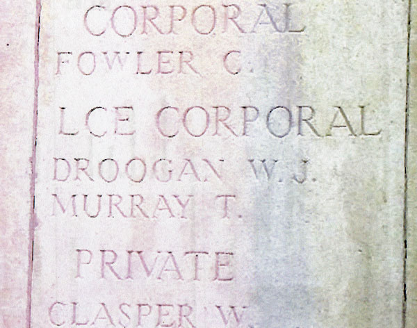 Lance Corporal William John Droogan headstone